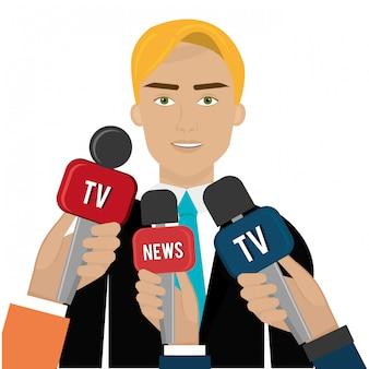 Человек разговаривает с новостями