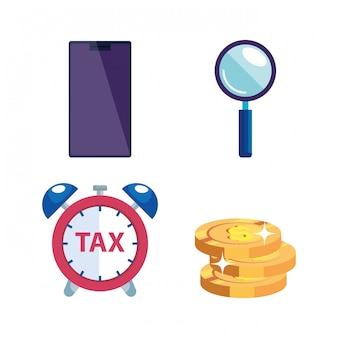 Пачка налогов день иконы векторные иллюстрации дизайн