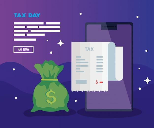 День налоговой иллюстрации с смартфон и мешок денег