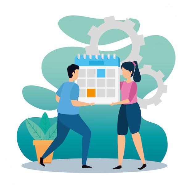 Мужчина и женщина, держащая календарь