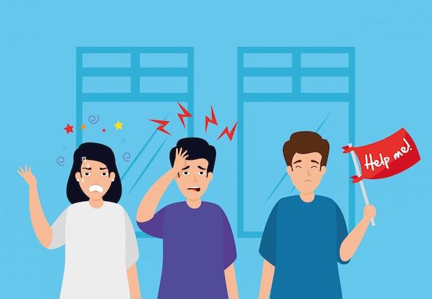 Люди с приступами стресса на рабочем месте