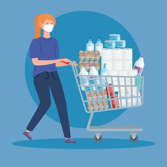 食料品店のカートを押す女性