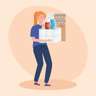 食料品を運ぶ女性