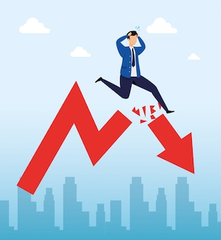 実業家と下向きの矢印で株式市場の暴落