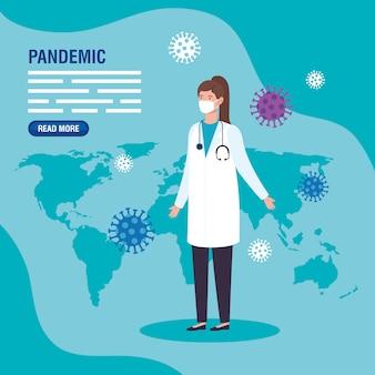 Женщина-врач с коронавирусными миниатюрами