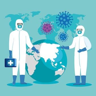 Медицинские работники с защитной одеждой