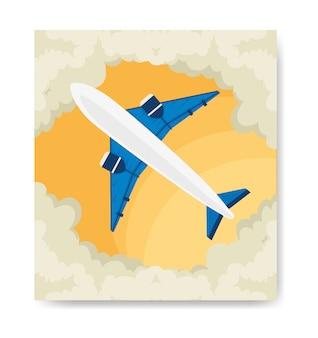 旅行イラストと雲と飛行機