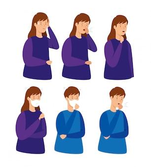 咳をする人々のグループ