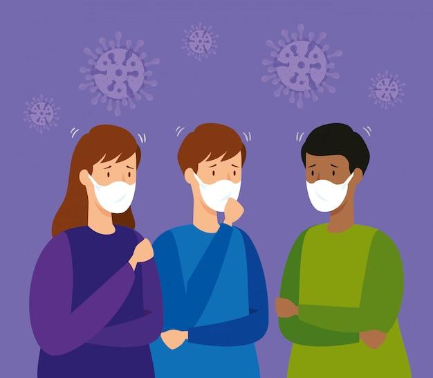 防護マスクを持つ人々のグループ