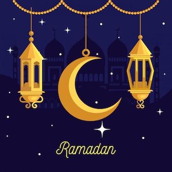 Рамадан карим иллюстрация с фонариками и висит на луне