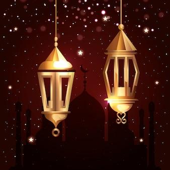 Рамадан карим иллюстрация с фонариками висит