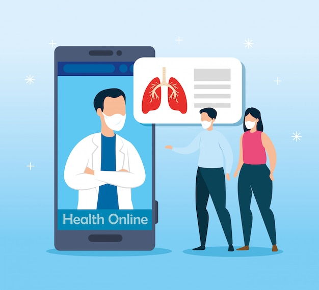 Технология здоровья онлайн с дизайном иллюстрации вектора