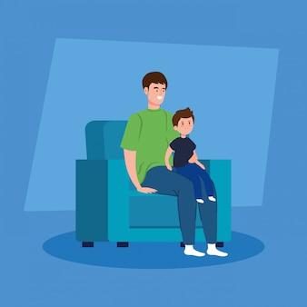 Кампания остаться дома с отцом и сыном в гостиной