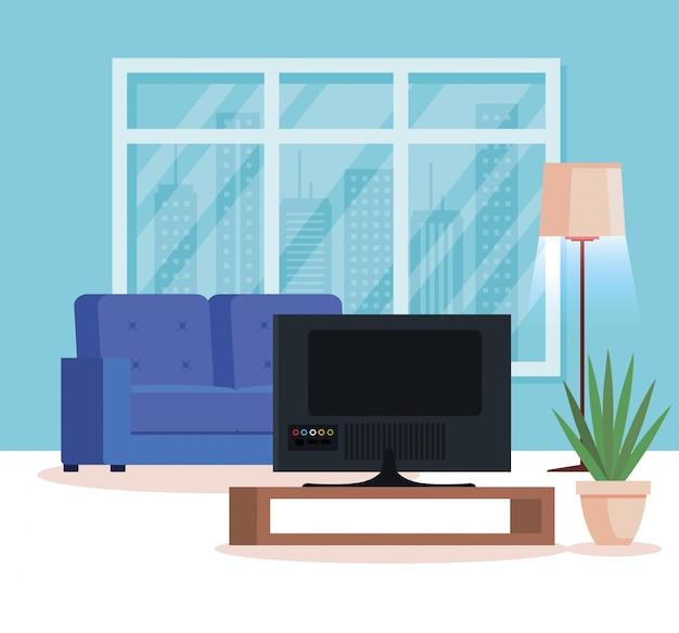 ソファとテレビのあるリビングルームの家の場所