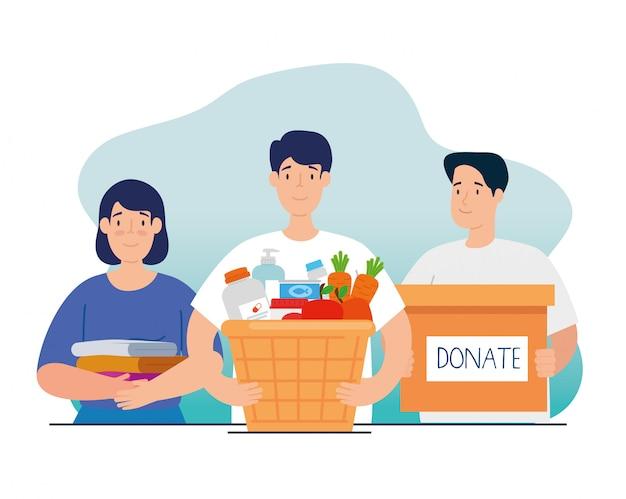 慈善寄付の箱とバスケットを持つ人々