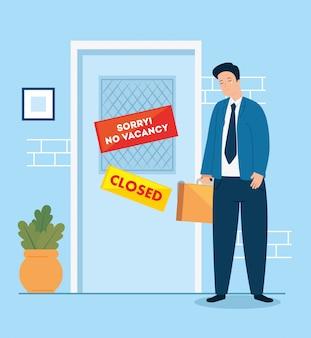 Бизнесмен безработный плачет по закрытой компании