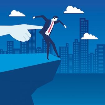 Сцена бизнесмена безработных в пропасти