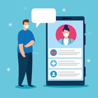 Технология телемедицины с доктором женщина в смартфоне и человек болен