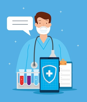 Технология телемедицины с доктором в смартфоне и медицинских иконок