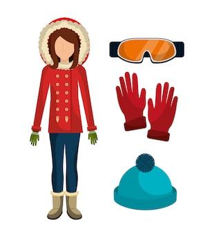 冬のファッション服とアクセサリー