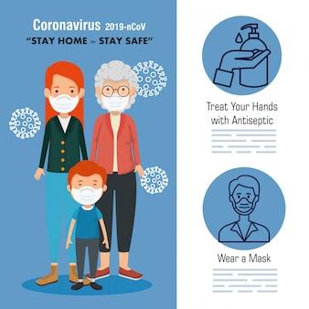 フェイスマスクを使ったかわいい家族と一緒に家にいるキャンペーン