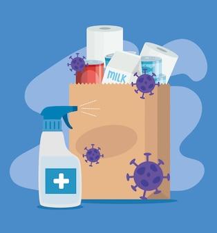 コロナウイルスとボトル消毒剤の粒子が入った食料品を買いすぎ