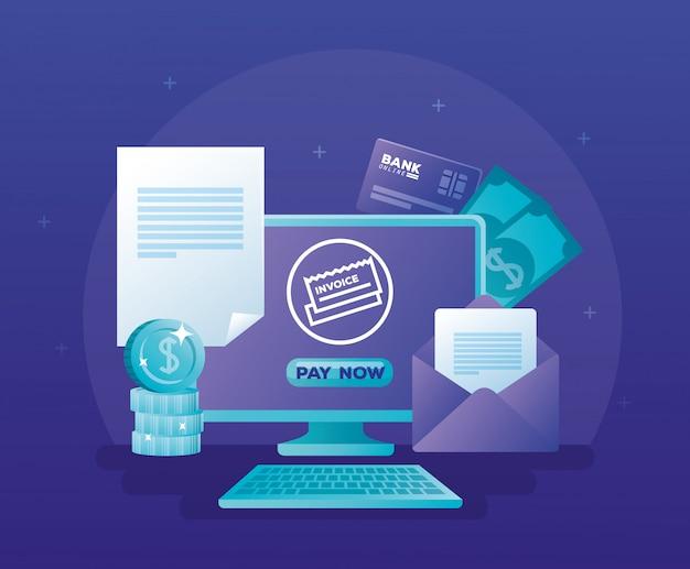 コンピューターのデスクトップでオンライン銀行の概念