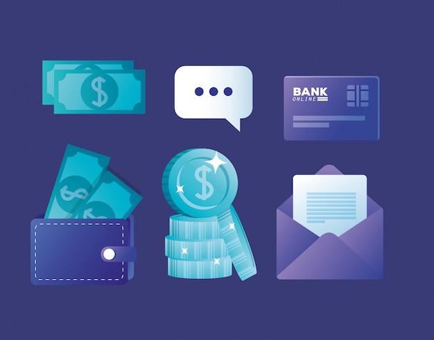 銀行オンラインアイコンの概念のバンドル