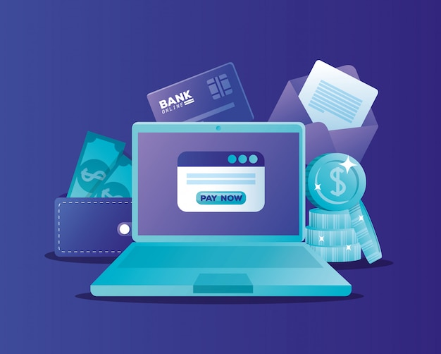 ラップトップでオンライン銀行の概念