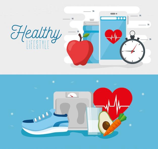 健康的なライフスタイルのベクトルイラストデザイン