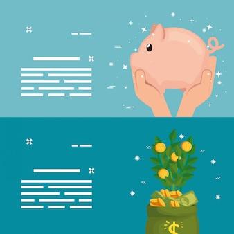 コインの植物と貯金箱