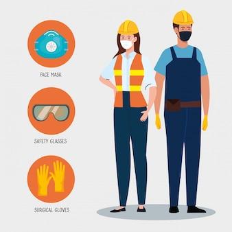 ユニフォームとマスクを持つ女性と男性の建設業者