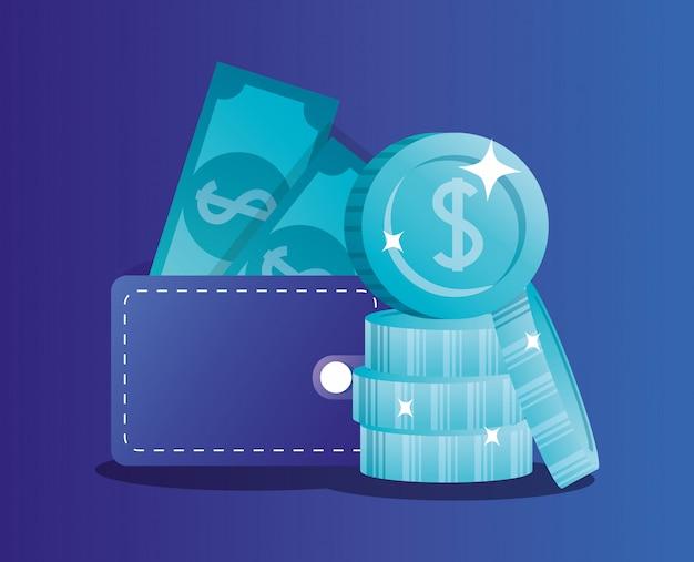 紙幣と硬貨付きの財布