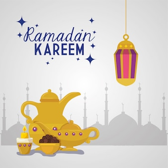 Рамадан карим исламская карта, золотые фонари висит с золотыми предметами иллюстрации