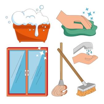 家庭用品およびフラットアイコンのクリーニング