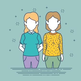 女と人のキャラクターのアバターの人々