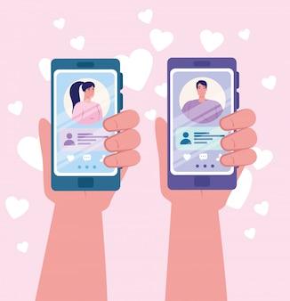 Приложение для онлайн знакомств, руки держат смартфон с мужчинами и женщинами, современные люди ищут пару, социальные сети, виртуальные отношения