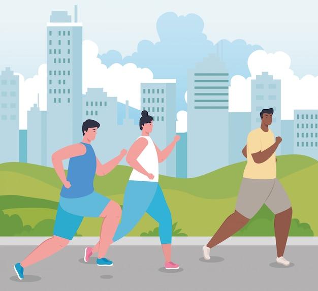 Люди марафонцы бегут спортивные, мужчины и женщины, запустить соревнования или марафон гонки иллюстрации