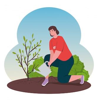 Волонтерство, благотворительная социальная концепция, волонтёрская женщина, посадить дерево, экологический образ жизни