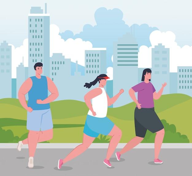 Люди бегают на улице, молодые люди в спортивной одежде бегают в парке