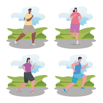 Бегающие люди, группы людей в спортивной одежде, бег трусцой, женщины и мужчины, практикующие упражнения