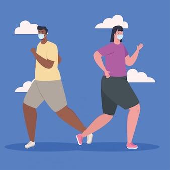 Пара работает, мужчина и женщина в спортивной одежде, бег, пара спортсмен