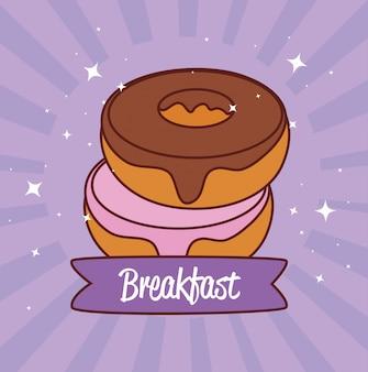 Вкусные свежие сладкие пончики, завтрак кондитерские хлебобулочные концепция