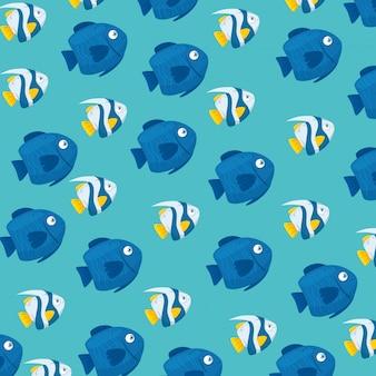 背景、海の水中生活、魚の動物