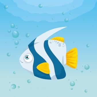 海の魚動物、シーワールドの住人、かわいい水中の生き物、海中の動物、生息地の海洋の概念