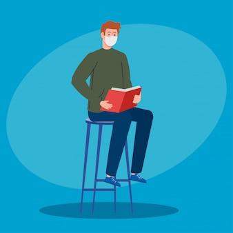 白い背景の上の椅子に座って本を読んで医療マスクを着た男