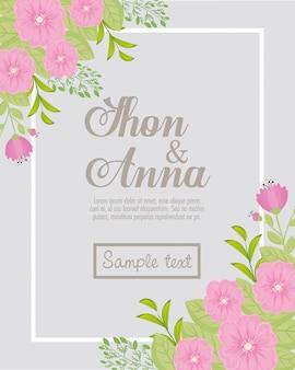 Свадебные приглашения с розовыми цветами и листьями