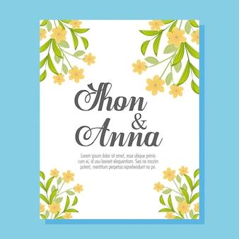 Свадебные приглашения с желтыми цветами и листьями