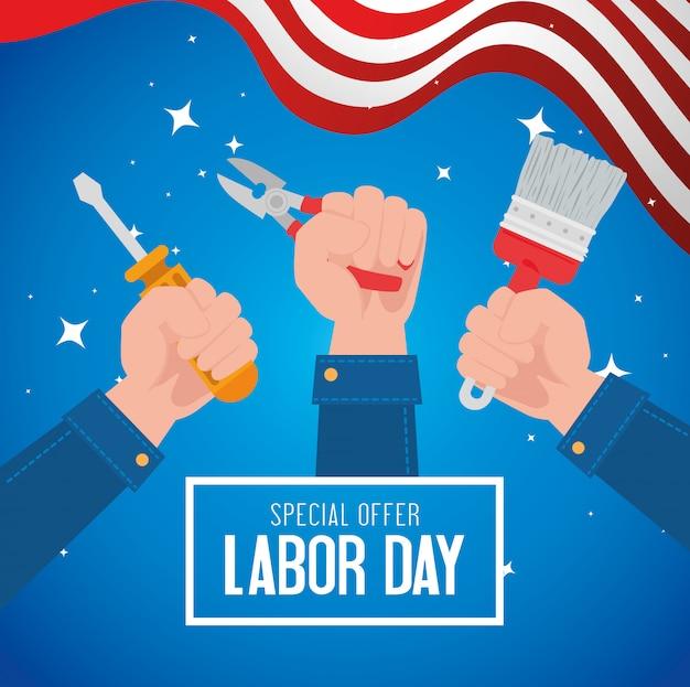 手とツールの建設と労働日の販売促進広告バナー