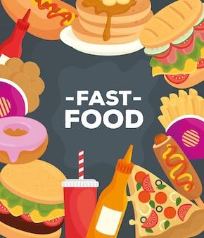 Баннер с разными вкусными блюдами быстрого питания